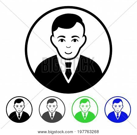 Rounded Gentleman flat vector icon. Colored rounded gentleman gray, black, blue, green pictogram variants. Flat icon style for application design.