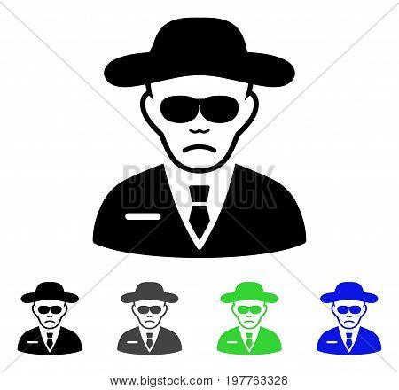 Security Agent flat vector pictogram. Colored security agent gray, black, blue, green icon variants. Flat icon style for graphic design.