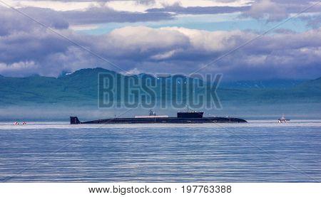 Atomic submarine On the parade in Kamchatka