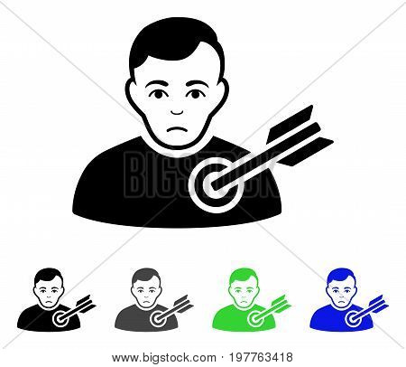 Target Man flat vector pictogram. Colored target man gray, black, blue, green icon versions. Flat icon style for application design.
