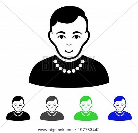 Trendy Guy flat vector pictogram. Colored trendy guy gray, black, blue, green pictogram versions. Flat icon style for application design.