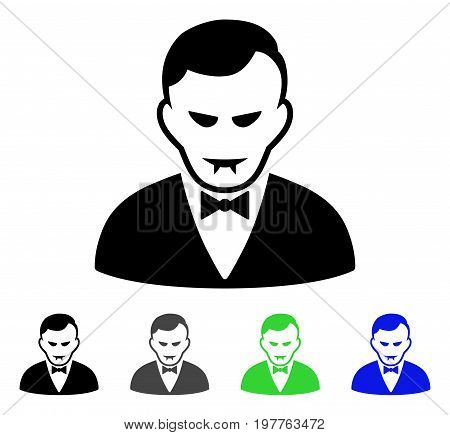 Vampire flat vector illustration. Colored vampire gray, black, blue, green pictogram variants. Flat icon style for application design.