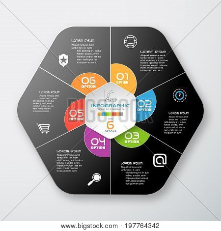 Vector infographic of gradient dark gray hexagonal form and color segments cut from paper with shadow text and color icons on the gradient gray background.