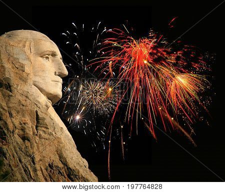 Mount Rushmore George Washington silhouette with fireworks background