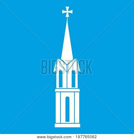 Church icon white isolated on blue background vector illustration