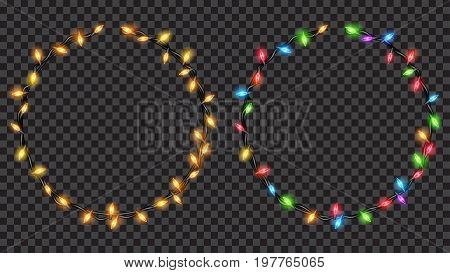 Christmas festive decorations yellow and colored translucent fairy lights ring shaped. Isolated on transparent background. Transparency only in vector file