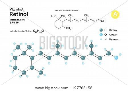Structural chemical molecular formula and model of retinol. Atoms are represented as spheres with color coding isolated on background. 2d or 3d visualization and skeletal formula. Vector illustration