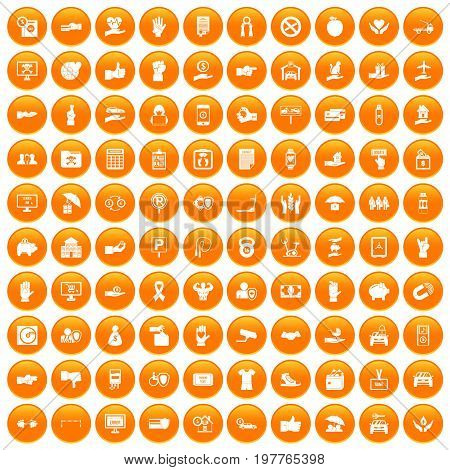 100 hand icons set in orange circle isolated vector illustration