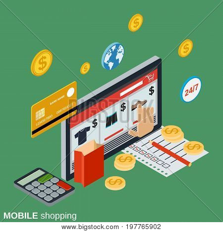 Mobile shopping, online store, distant trade, e-commerce flat isometric vector concept