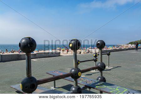 Paco De Arcos Beach In Paco De Arcos, Portugal.