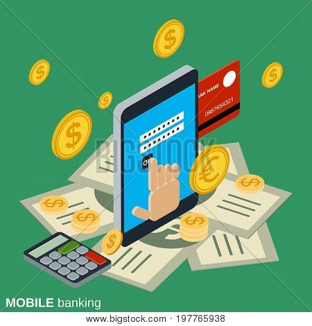 Mobile money transfer, payment, online banking, financial transaction flat isometric vector concept