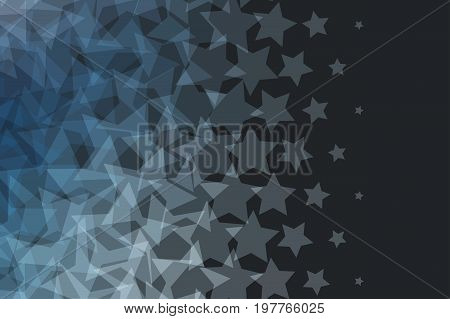 Abstract vector design elements for graphic layout. Modern black dark business background template with grey stars for holiday, fun, decoration, joy, party, celebration, night club