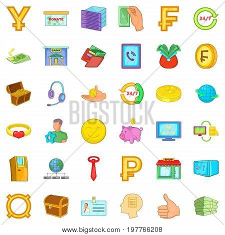 Money in bank icons set. Cartoon style of 36 money in bank vector icons for web isolated on white background