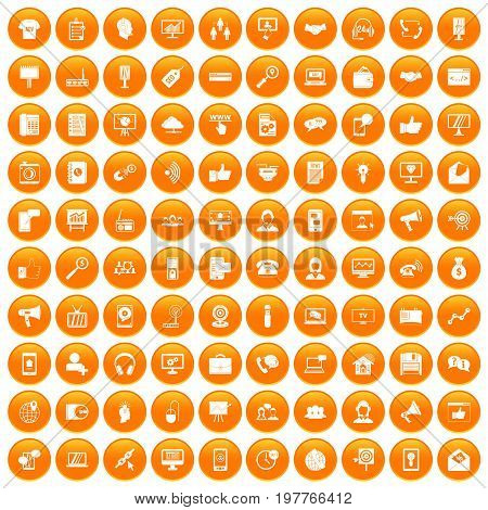 100 help desk icons set in orange circle isolated vector illustration