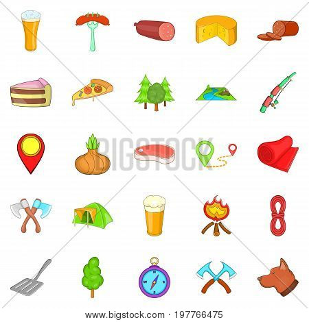 BBQ lunch icons set. Cartoon set of 25 BBQ lunch vector icons for web isolated on white background