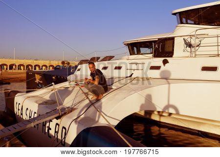 OSTIA LAZIO ITALY - OCTOBER 18 2014: The trimaran of Sea Shepherd Brigitte Bardotdocks in the port of Ostia. Has participated in 3 Antarctic campaigns saving hundreds of whales.