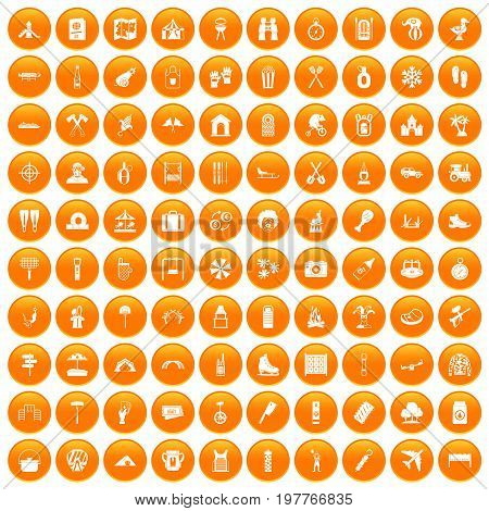 100 holidays family icons set in orange circle isolated vector illustration