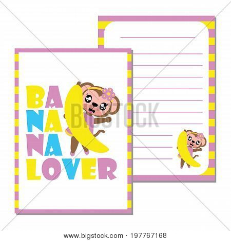 Cute monkey girl loves banana vector cartoon illustration for kid paper note design, scrap book and postcard.