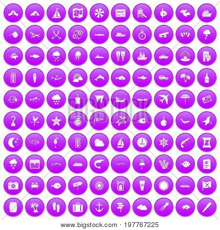 100 marine environment icons set in purple circle isolated on white vector illustration