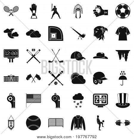 Baseball player icons set. Simple style of 36 baseball player vector icons for web isolated on white background