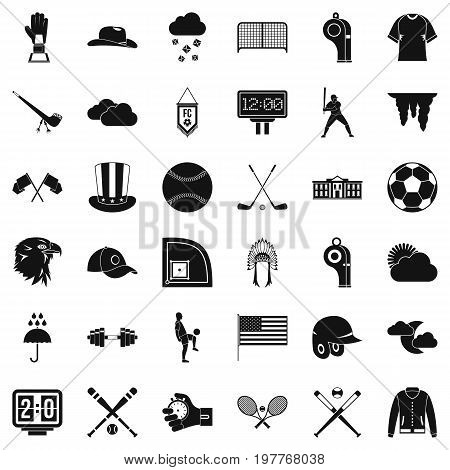 Baseball field icons set. Simple style of 36 baseball field vector icons for web isolated on white background