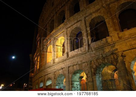 Coliseum in Rome, Italy, with yellow color