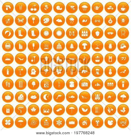 100 landscape icons set in orange circle isolated vector illustration