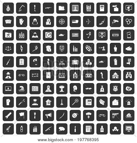 100 violation icons set in black color isolated vector illustration