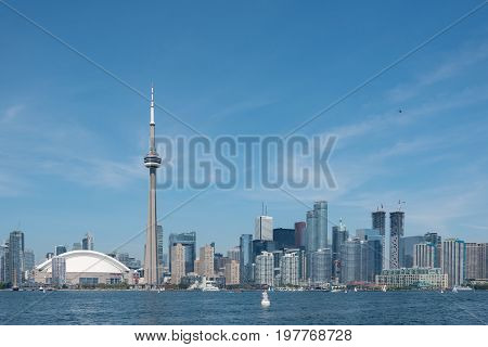 TORONTO - August 19 2016: Toronto cityscape panorama from Lake Ontario Canada