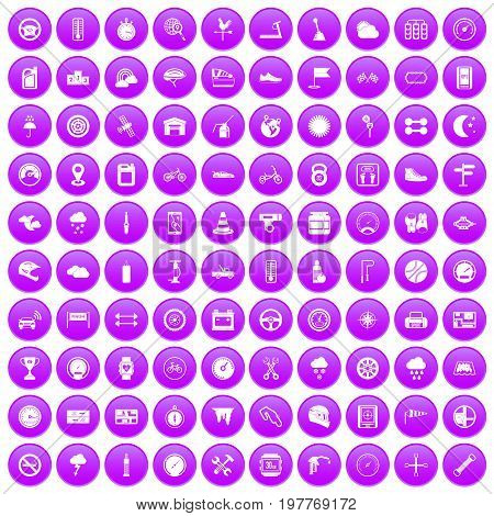 100 motorsport icons set in purple circle isolated on white vector illustration