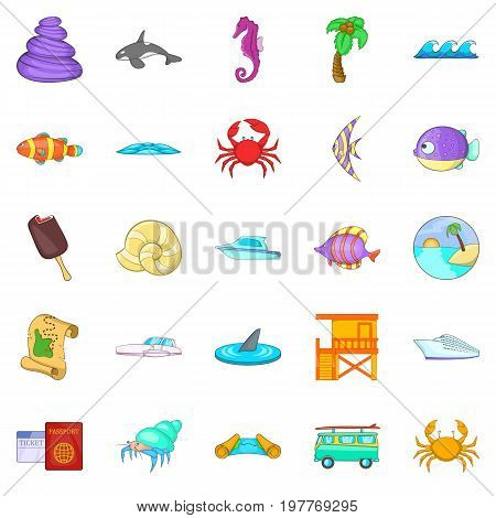Coast icons set. Cartoon set of 25 coast vector icons for web isolated on white background