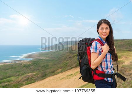 Female Climber Woman Carrying Hiking Backpack