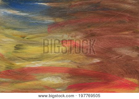 Abstract acrylic hand painted background; red, yellow, brown and blue colors