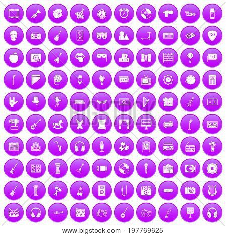 100 musical education icons set in purple circle isolated on white vector illustration
