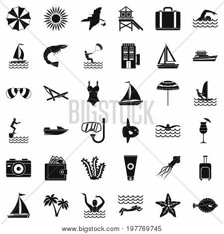 Summer rest icons set. Simple style of 36 summer rest vector icons for web isolated on white background