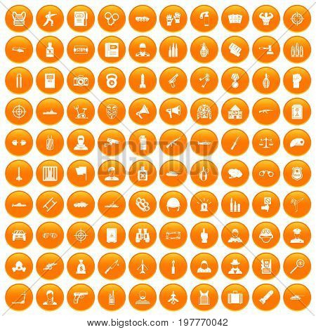 100 officer icons set in orange circle isolated vector illustration
