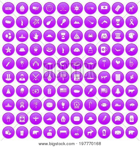 100 North America icons set in purple circle isolated on white vector illustration