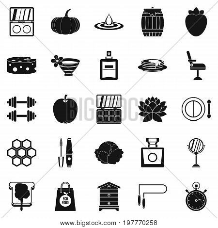 Perfect body icons set. Simple set of 25 perfect body vector icons for web isolated on white background