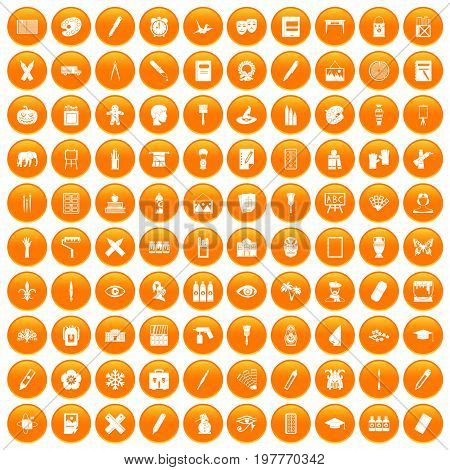 100 paint school icons set in orange circle isolated vector illustration