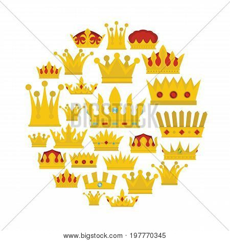 Gold crown flat icons set. Gold crown vector illustration for design and web isolated on white background. Gold crown vector object for labels, logos and advertising