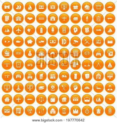 100 private property icons set in orange circle isolated vector illustration
