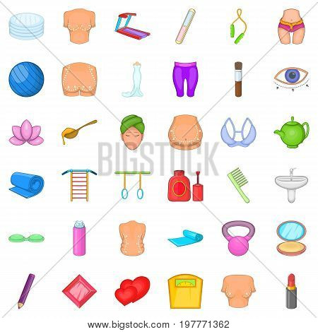 Make up cosmetic icons set. Cartoon style of 36 make up cosmetic ector icons for web isolated on white background
