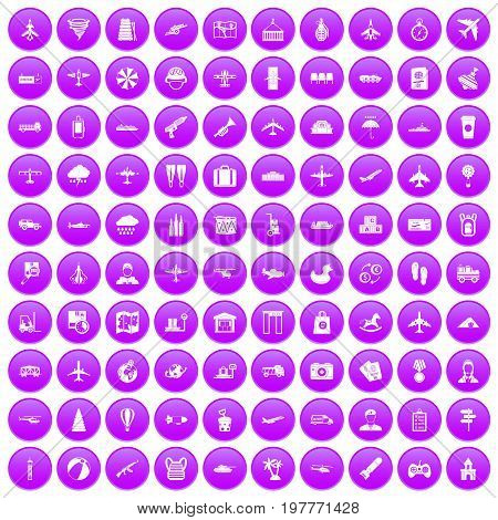 100 plane icons set in purple circle isolated on white vector illustration