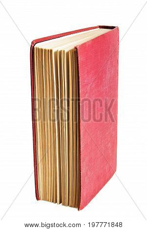 Red cover on a book standing on end