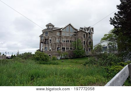 A large lakefront home, next to Alexander Henry Park, in Mackinaw City, Michigan, during June.
