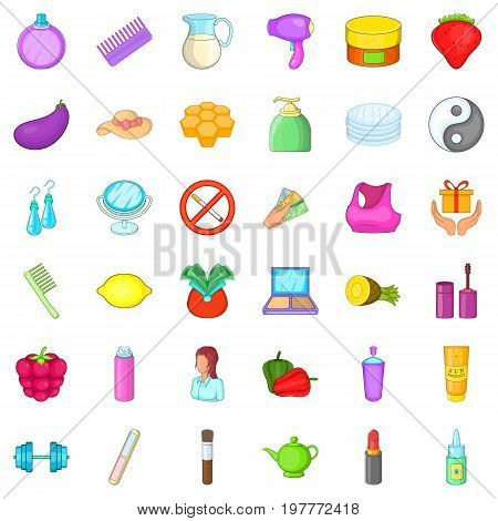 Woman cosmetic icons set. Cartoon style of 36 woman cosmetic ector icons for web isolated on white background