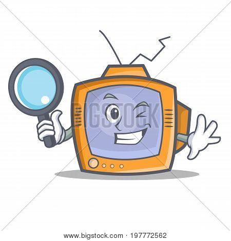 Detective TV character cartoon object vector illustration