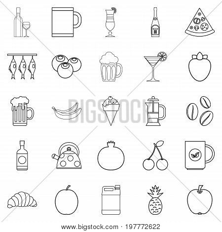Junket icons set. Outline set of 25 junket vector icons for web isolated on white background