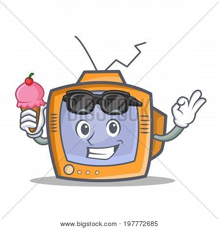 TV character cartoon object with ice cream vector illustration