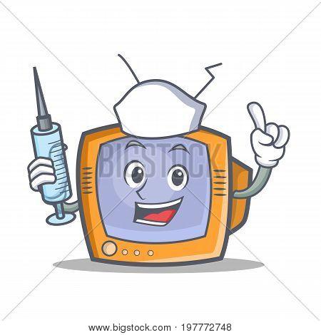 Nurse TV character cartoon object vector illustration